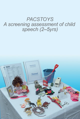 Book cover of PACSTOYS: A screening assessment of child speech (2-5yrs)
